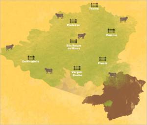 Área produtora do queijo Canastra