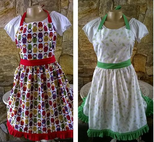 Sob encomenda, avental marcado na cintura, moderno ou romântico e suave, vendedor Crafts by Luciana Seixas, R$ 39,90, aqui,